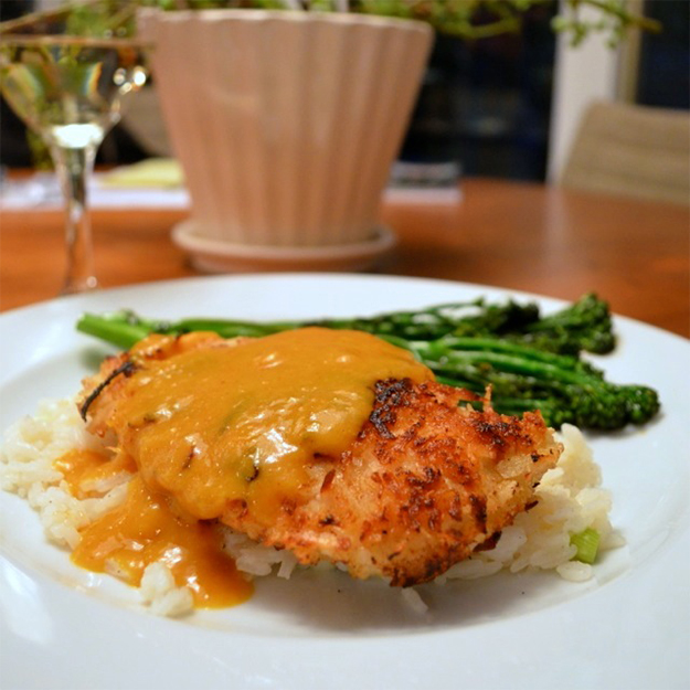 Coconut Chicken With Mango Curry Sauce